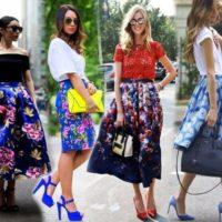 Выбираем с чем носить юбку с цветами